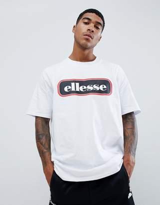 Ellesse Heroni oversized bar logo t-shirt in white