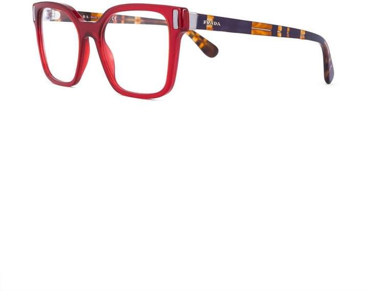 Prada square framed striped arm glasses