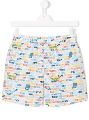 Fendi worded swim shorts