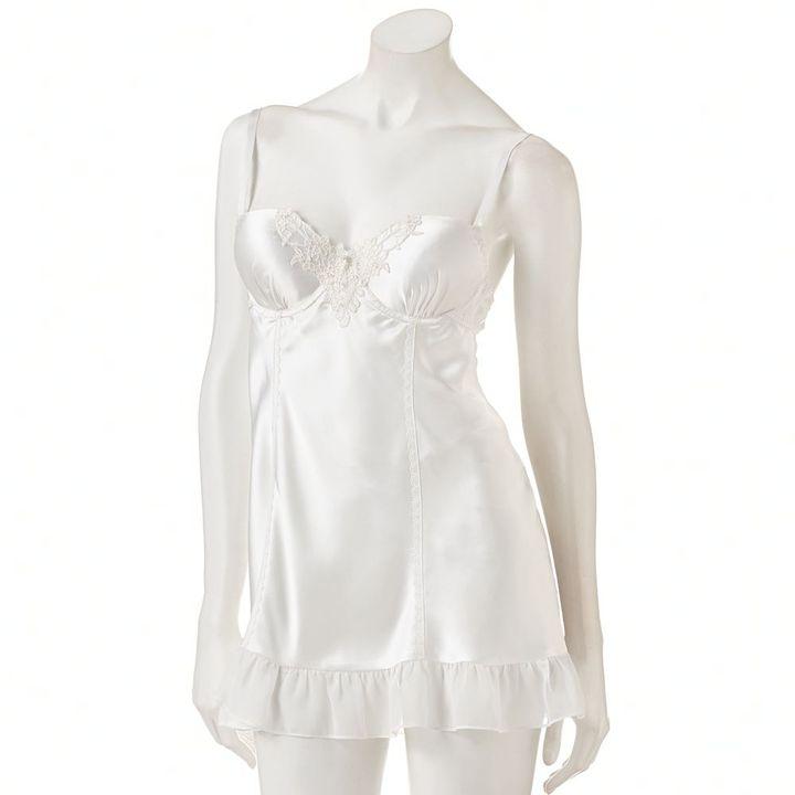 Apt. 9 beaded lace bridal satin babydoll with matching panty