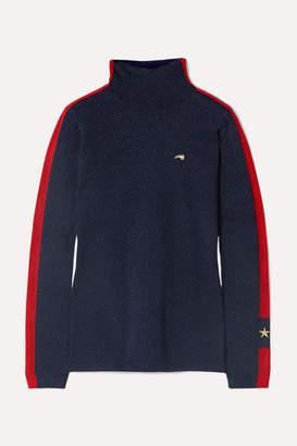 Bella Freud Britt Embroidered Metallic Wool-blend Turtleneck Sweater