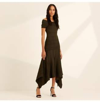 Amanda Wakeley Khaki Knitted Viscose Midi Dress