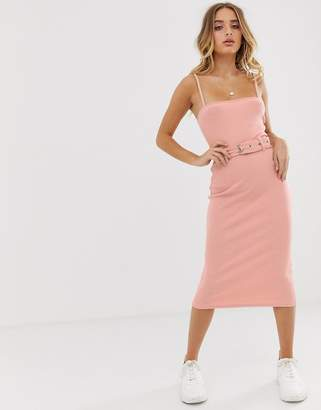 Missguided ribbed midi dress with belt in peach