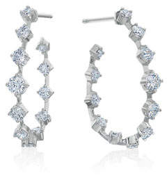 Maria Canale Pear-Shaped Wire Hoop Earrings with Diamonds