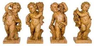 4-Piece Four Seasons Cherub Sculptures