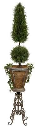 Toscano Design Casita de Flores Basketweave Metal Plant Stand