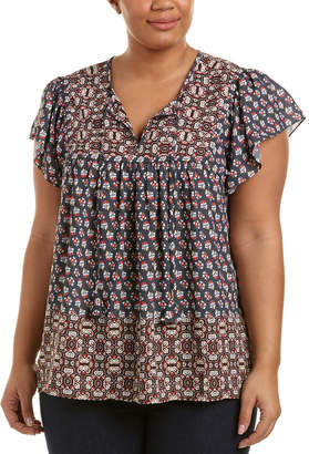 NYDJ Plus Mixed Border Print Blouse