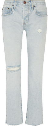 Current/Elliott - The Crossover Distressed Mid-rise Straight-leg Jeans - Light denim $250 thestylecure.com