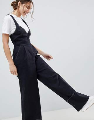 Asos DESIGN Jumpsuit In Twill With Tie Detail And Wide Leg