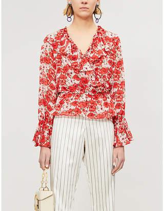 RIXO Roisin floral-print silk-crepe top
