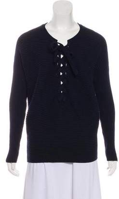 Designers Remix Charlotte Eskildsen Rib Knit Lace-Up Sweater