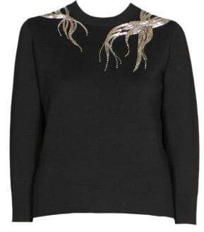 Alexander McQueen Beaded Three-Quarter Sleeve Sweater