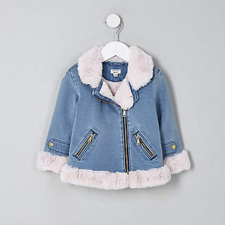 River Island Mini girls denim faux fur aviator jacket