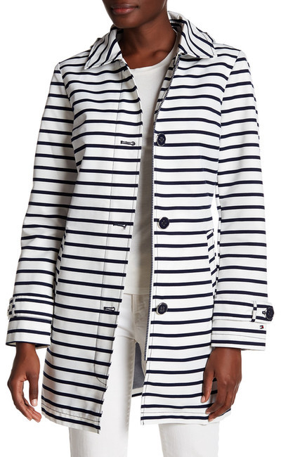 Tommy Hilfiger Tommy Hilfiger Striped Button Detail Coat