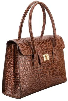 Maxwell Scott Bags Brown Mock Croc Leather Business Handbag For Women