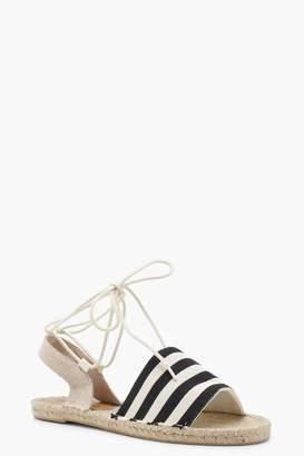 Sofia Canvas Striped Ankle Wrap Espadrille Flats 7RrtSB
