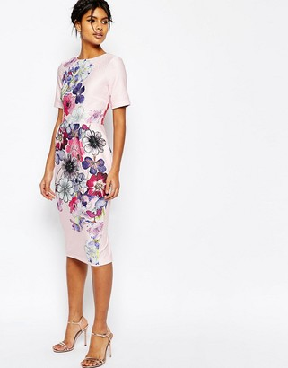 ASOS Textured Wiggle Dress In Placement Floral Print $76 thestylecure.com