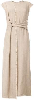 Dusan herringbone wrapped dress