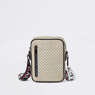 River Island Ecru RI monogram cross body flight bag