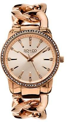 SO&CO New York Women's 5071.4 SoHo Quartz Crystal Accent 16K Rose-Tone Chain Link Bracelet Watch