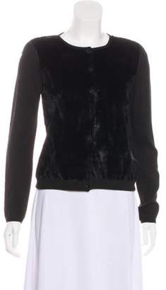 Blumarine Velvet Button-Up Cardigan Black Velvet Button-Up Cardigan