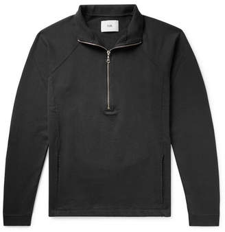 Folk Rivet Loopback Cotton-Jersey Half-Zip Sweatshirt - Men - Black