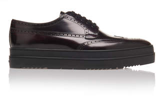 Prada Thick-Soled Cordovan Wing Tip Shoes