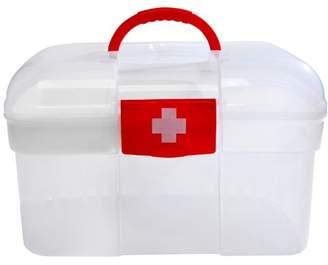 clear Red First Aid Container Bin / Family Emergency Kit Storage Box w/ Detachable Tray - MyGift