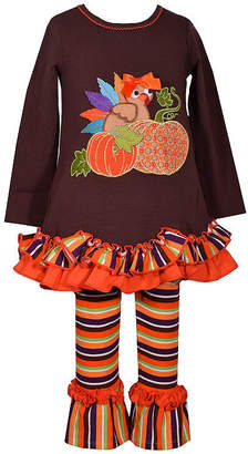 Bonnie Jean 2-pc.Turkey Stripe Legging Set-Baby Girls