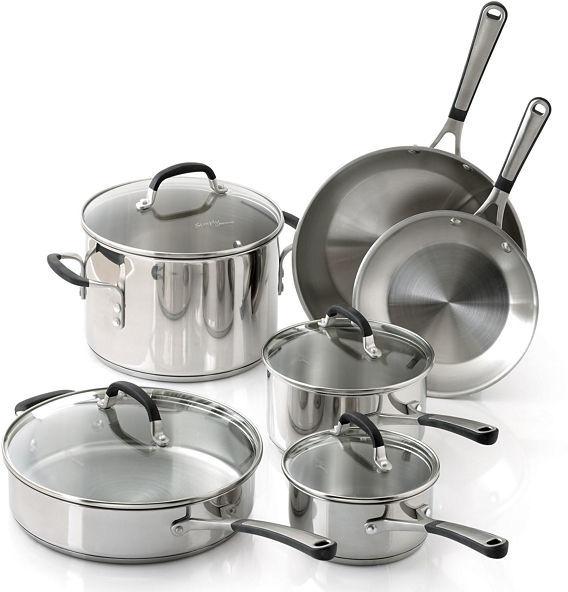 Calphalon Simply 10-pc. Stainless Steel Cookware Set + BONUS