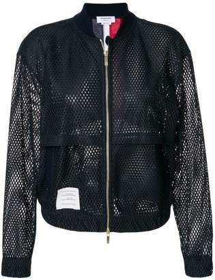 Thom Browne Bomber With Center Back Red White And Blue Stripe In Heavy Athletic Mesh