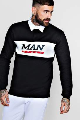 boohoo Contrast Panel Man Sport Rugby Sweater