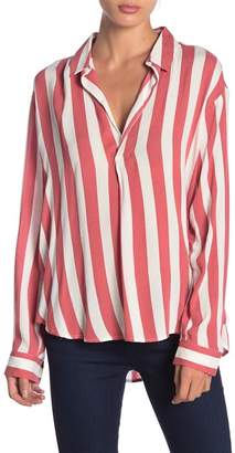 Free Press Striped Long Sleeve Popover Shirt