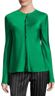 DKNY Long-Sleeve Stretch Satin Top, Viridian $258 thestylecure.com