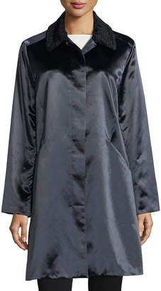 Jane Post Button-Front Long-Sleeve Satin Overcoat