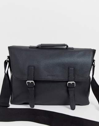 Asos Design DESIGN faux leather satchel in black saffiano with double straps and internal laptop pouch