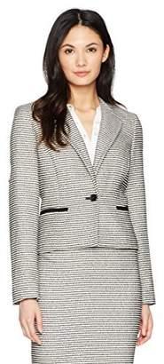 Nine West Women's 1 Button Striped Tweed Jacket