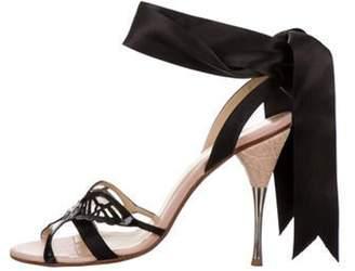 Alexander McQueen Leather Wrap-Around Sandals Pink Leather Wrap-Around Sandals