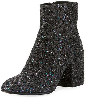 Ash Egoiste Galaxi Glitter Zip Bootie, Midnight $210 thestylecure.com