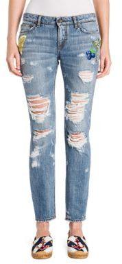 Dolce & GabbanaDolce & Gabbana Distressed Embellished Denim Jeans