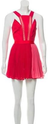 Three floor Pleated Mini Dress Coral Pleated Mini Dress