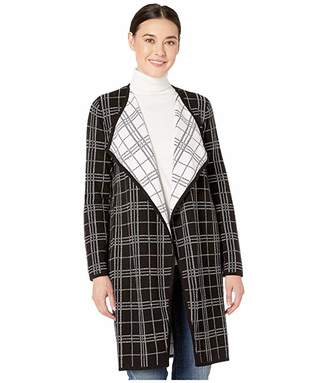 Vince Camuto Long Sleeve Plaid Open Front Maxi Cardigan