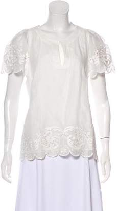 Collette Embroidered Key-Hole Blouse