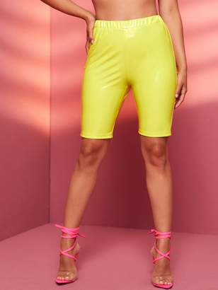 Shein Elastic Waist Faux Patent Leather Cycling Shorts