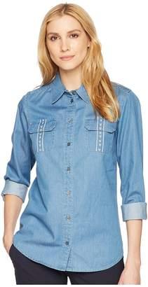 Pendleton Embroidered Cotton Chambray Shirt Women's Clothing