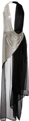 Fannie Schiavoni M'O Exclusive Chain-Paneled Silk-Chiffon Wrap Dress