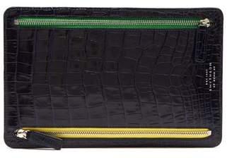Smythson Mara Crocodile Effect Leather Currency Wallet - Mens - Navy