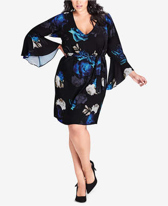 City Chic Trendy Plus Size Printed Bell-Sleeve Dress