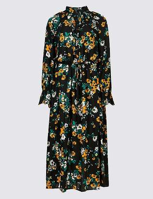 Marks and Spencer Floral Print Drop Waist Midi Dress