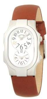 Philip Stein Teslar Signature Dual-Time Stainless Steel & Leather-Strap Watch